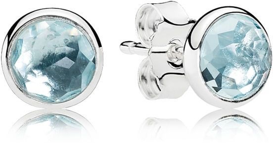 8fdcdd1ba Pandora Women S Sterling Silver March Droplets Stud Earrings. Pandora  Silver March Birthstone Aquamarine Stud Earrings 796056