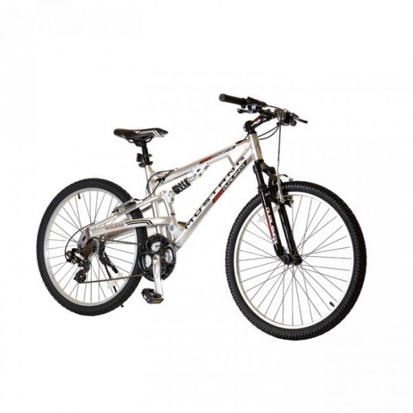 Mustang 26 Inch Silver Alum Dual Suspension Bicycle Souq