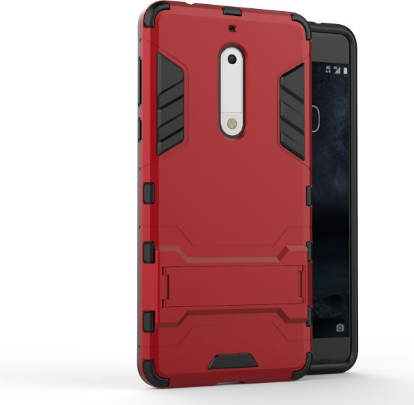 the latest 6239c 5f702 Nokia 5 -Shockproof Kickstand TPU Hybrid Back Case Cover -Red