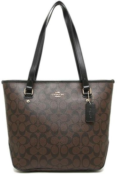 Coach Zip Top Tote In Signature Gold Brown Black F58294 By Handbags