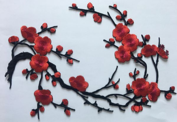 Plum blossom flower iron on or sewing patches embroidery applique