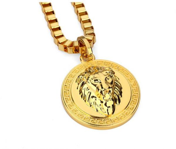 Buy real gold plated round lion king pendant necklace hip for Is gold plated jewelry worth anything