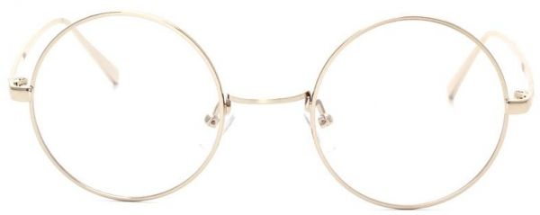 Metal Silver Frame Flat Glasses Korean Style Round Clear Lens ...