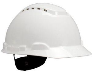 3M Hard Hat Safety Helmet 4-Point Ratchet Suspension Vented White H-70...