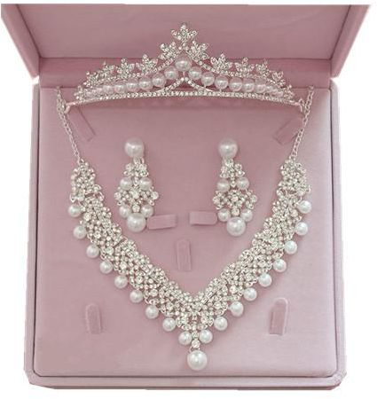 Elegant Bridal jewelry Pearal necklace Earring Crown Jewelry accessories Wedding Gifts for female