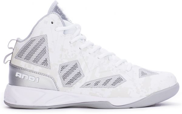 AND1 Xcelerate 2 Mid Basketball Shoes for Men, White and Silver