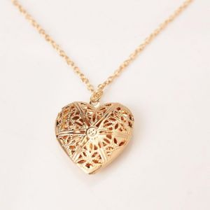 Fashionable oven heart locket necklace perfectznworld uae gold plated hollow out heart photo romantic locket pendant necklace for women aloadofball Choice Image