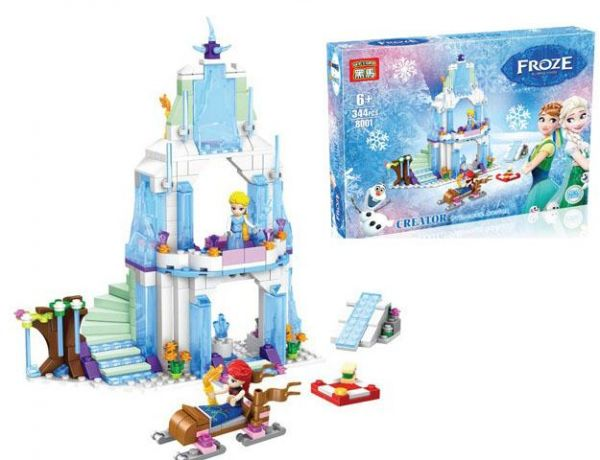 Plastic Bricks Frozen Princess Elsa Castle Sparkling Scenes Children's  Building Blocks HEIMA 8001