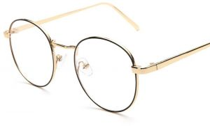 6a79e9402e2c Retro Round Flat Glasses Vintage Gold Full Frame Clear Lens Eyewear