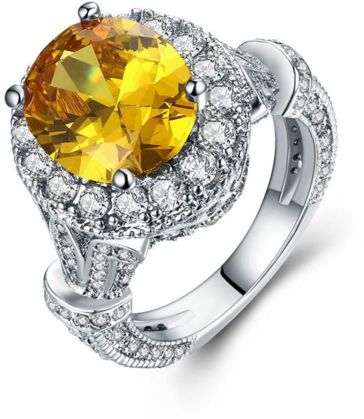 Oval Halo White Gold Plated Ring, Yellow and Clear Cubic Zirconia