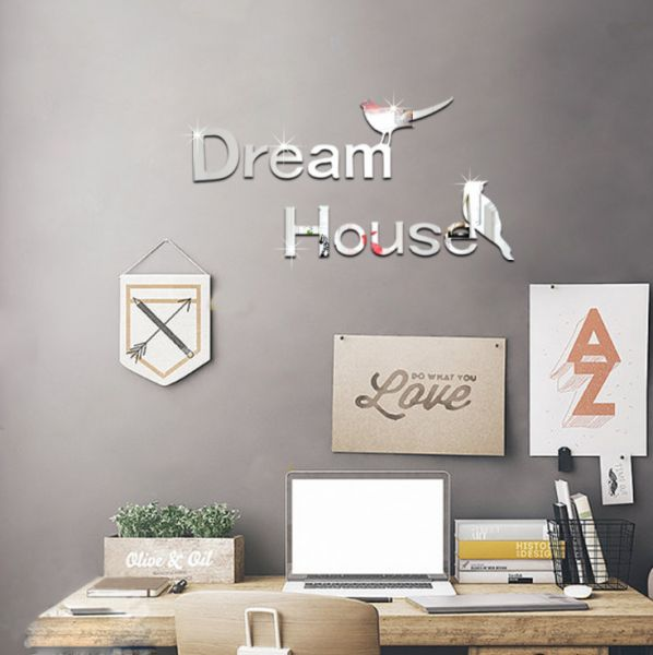 bedroom background wall stickers creative dream house mirror paste
