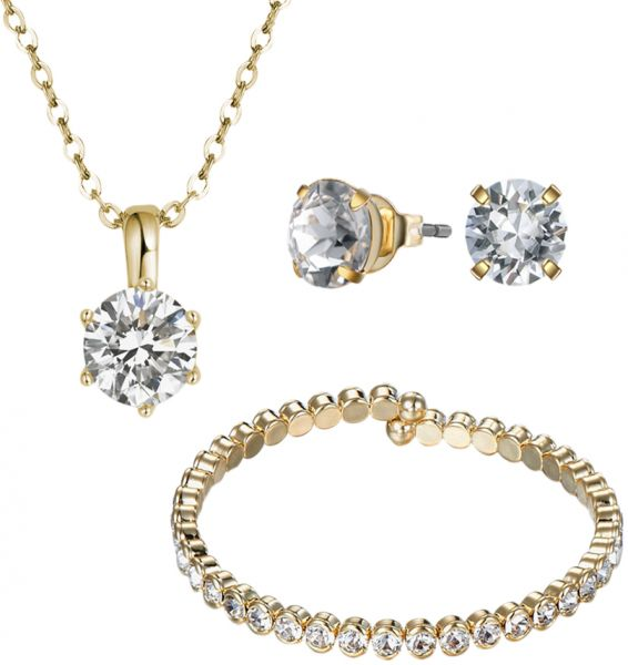 Mestige Gold Plated Luxurious Jewelry Set - 3 Pieces