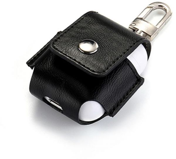 Black AirPod leather case protector with belt hook/ key