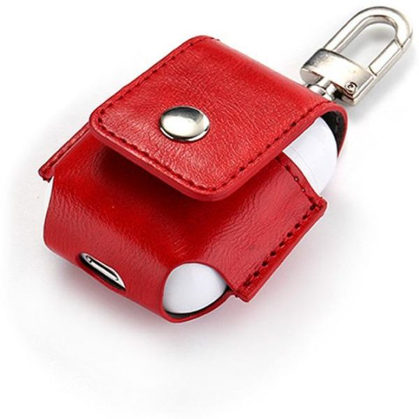 Red AirPod leather case protector with belt hook/ key