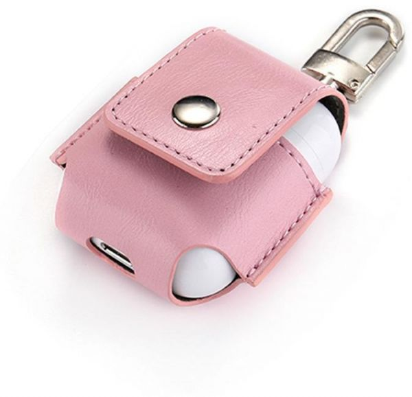 Souq   Pink AirPod leather case protector with belt hook