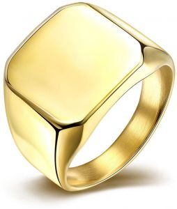 Square Stainless Steel Ring Jewelry For Men Engagement Ring Gold Color Wedding  Bands