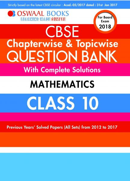 Oswaal CBSE Chapterwise Question Bank For Class 10 Mathematics (Mar