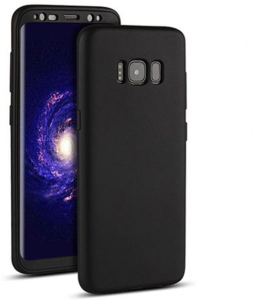 b33cb2ce724649 Samsung Galaxy S8 360 Full Protection Front   Back TPU Matte Cover Case -  Black