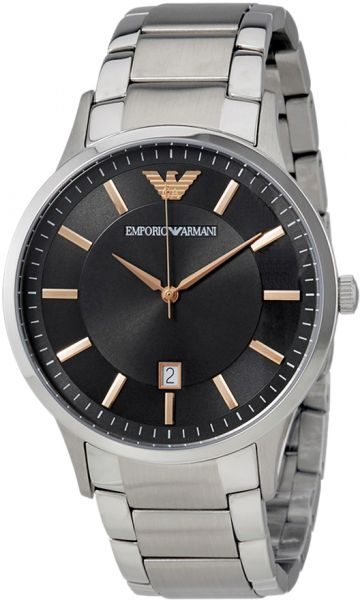 d069b008e7c Emporio Armani Men s Black Dial Stainless Steel Band Watch - AR2514