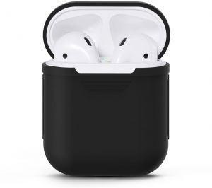 Black soft silicon shock proof protective cover for AirPod case