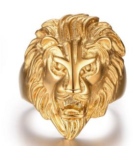 Vintage Punk Gothic men Rings in rings Titanium Steel Individual Overstate lion head gold