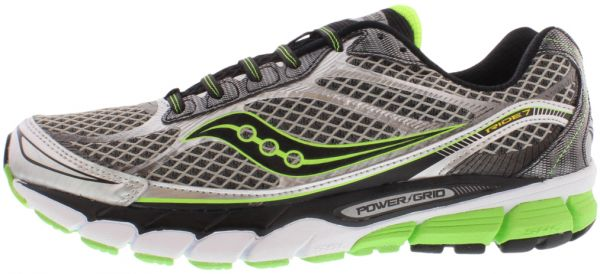 Saucony Ride 7 Running Shoes for Men, Silver/Black/Slime