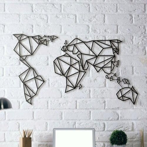 Laser cut metal geometric world map wall art black price review this item is currently out of stock gumiabroncs Choice Image