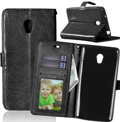 Wallet 3 Card Slots Leather Case For Lenovo Vibe P1 Turbo Crazy Horse Texture