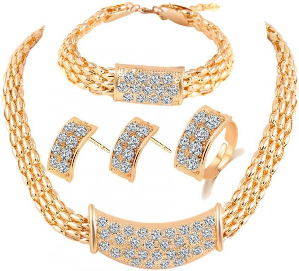 Buy Europe Style Jewelry Set 18k Gold Plated Diamond Necklace