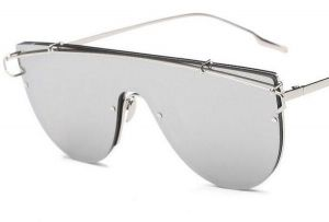 587e07c5f76 Vintage Oversized Sunglasses Shades Shield One Lens Flat Top Frame - Silver