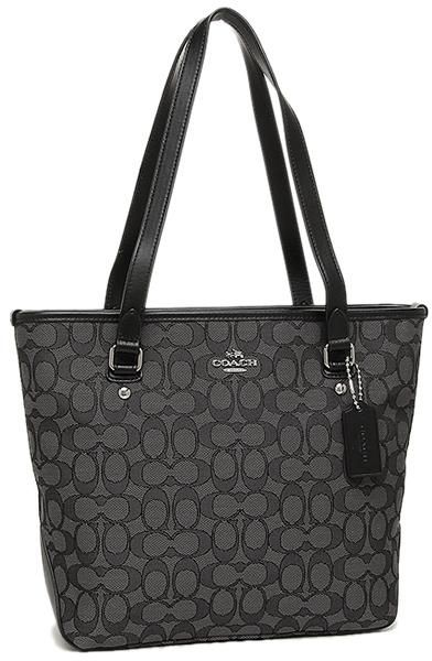 COACH ZIP TOP TOTE IN OUTLINE SIGNATURE SMOKE BLACK - F58282  edde2fc8209e5