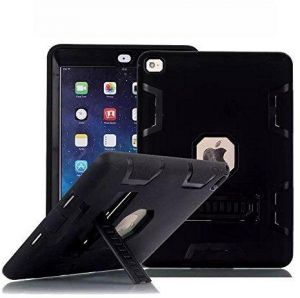 Star IPad Air 2 /6 Case, [Hybrid Shockproof Case] Rugged Triple-Layer Shock-Resistant Drop Proof Defender Case Cover with KickStand Black