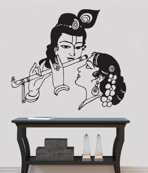 lord krishna wall decals for living room, home decor, waterproof