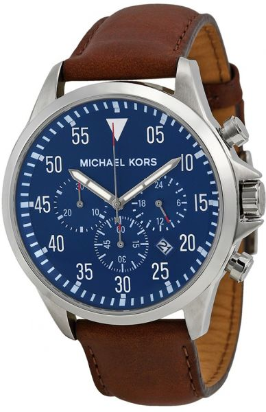 ef7d4c8597cb Michael Kors Gage Men s Blue Dial Leather Band Watch - MK8362