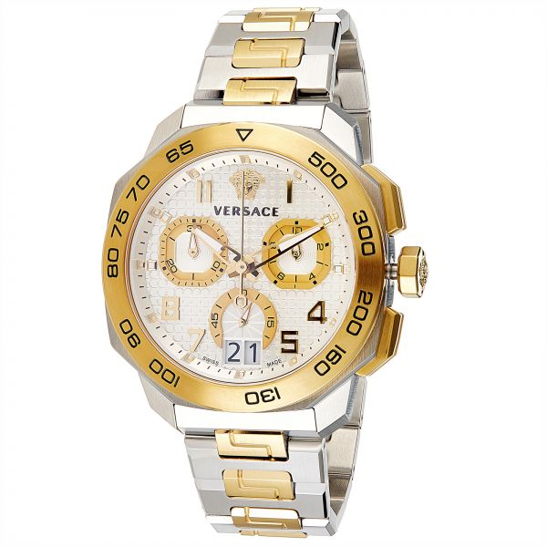 a82b30c3e807 Versace Dylos Men s Chrono Men s Silver Dial Stainless Steel Band Watch -  VQC030015