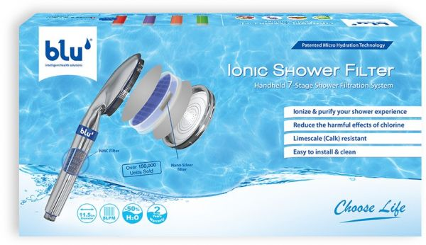 blu ionic shower filter with nano silver filter 7 stage shower filtration system price. Black Bedroom Furniture Sets. Home Design Ideas