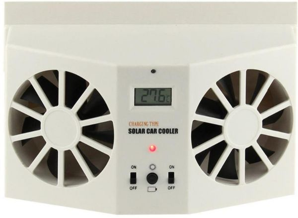 IVORY SOLAR POWERED Car FRONT/REAR WINDOW AIR VENT VENT COOLER FAN,WHITE