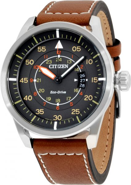 Citizen Men s Grey Dial Leather Band Watch - AW1361-10H d7819b08a22b0