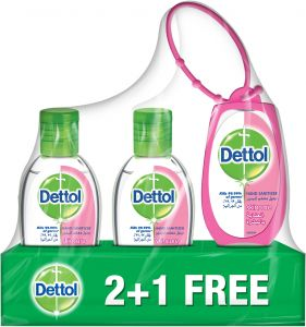 Dettol 3 Pieces Skincare Hand Sanitizer With Bag Tag - 50 ml