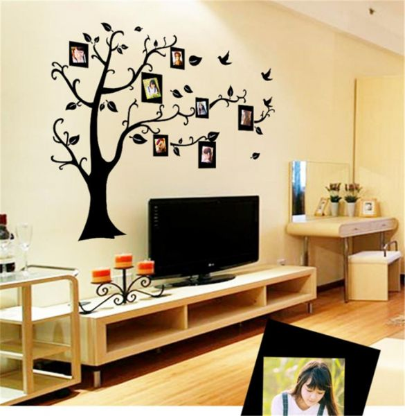 black frame wall stickers self - adhesive bedroom tv background wall