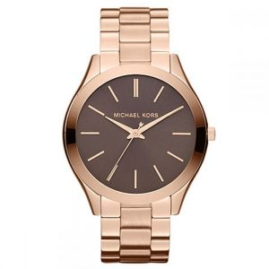 Michael Kors Slim Runway For Women Brown Dial Stainless Steel Band Watch -  MK3181
