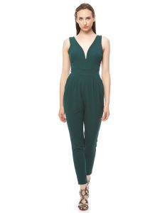 c98766e2a2d2 Wal G Solid V Neck Padded Jumpsuit for Women - Green