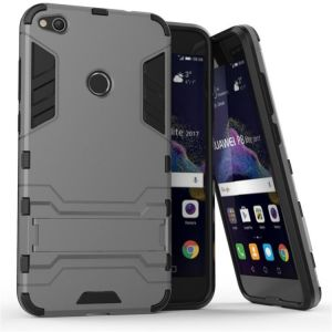 Huawei P8Lite (2017) Iron Man Support Bracket Two-In-One Phone Case - Silver
