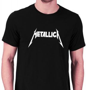 a2d227a3b366 Metallica Rock Music Band Black   White Round Neck T-Shirt For Men