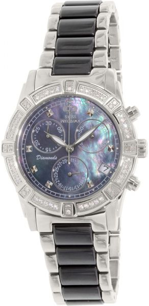a9d72882e Swiss Precimax Desire Elite Women's Purple Dial Ceramic Band Watch - SP12076