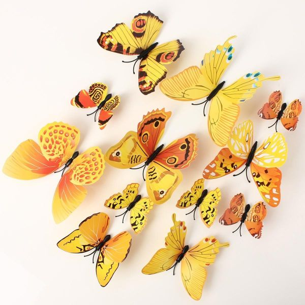 Souq | 12pcs 3D butterfly wall decor made from PVC yellow orange ...