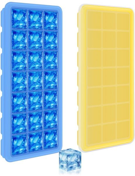 2 Pack Silicone Ice Cube Trays With Lids 21 Grids With Cover Easy