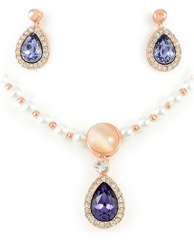 Buy 18k rose gold plated pearl necklace and earring set Geneva for