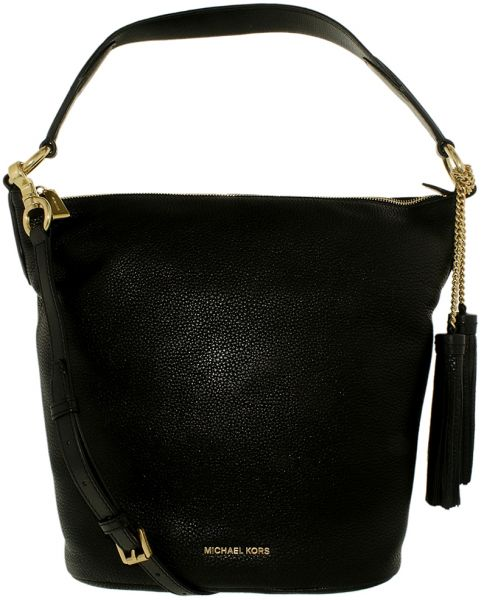 Michael Kors Large Elana Convertible Hobos Bag For Women Leather Black