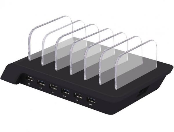 Usb Charging Station Dowin 6 Port Ful Output Charger Stand 10 2a Multiple Dock Desktop Cell Phone Organizer